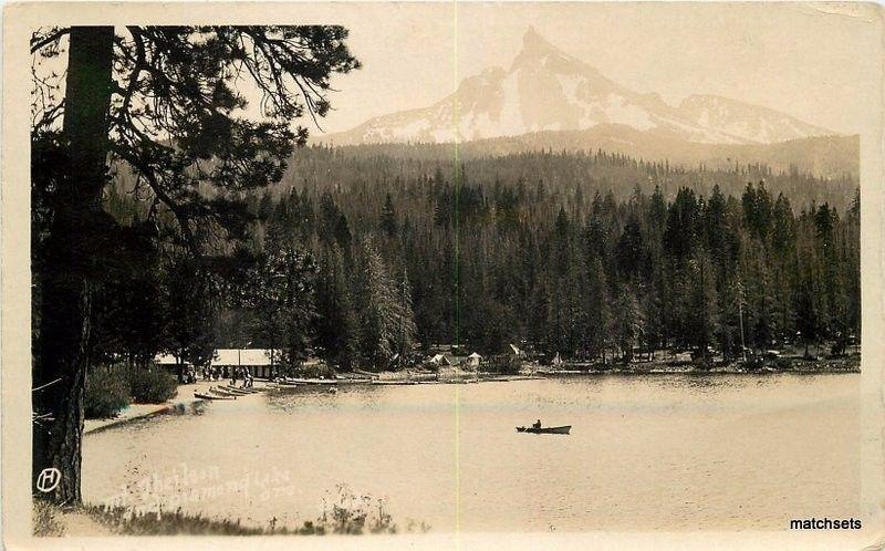 C-1908 Diamond Lake Oregon boat RPPC Real photo postcard 12868
