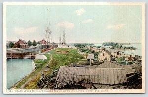 Sault Ste Marie Michigan~State Locks in 1865~Indian Huts & Rapids~c1910