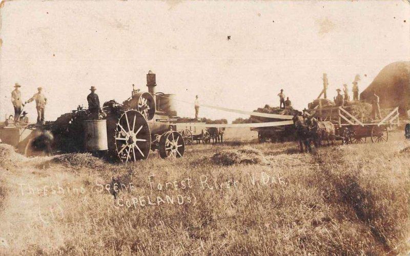 Forest River North Dakota Farming Threshing Scene Real Photo Postcard AA3445