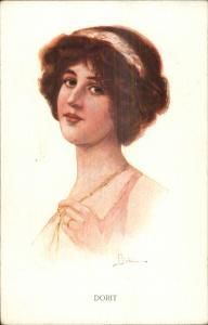 Beautiful Woman Finers on Jewelry Necklace DORIT c1910 Postcard - Bedi?