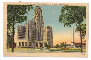 Buffalo NY New City Hall Vintage Linen Metrocraft Postcard