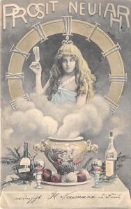 BG14870 fantasy woman clock festive table champagne new year neujahr  germany