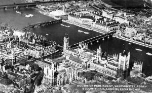Houses of Parliament, Westminster Abbey & County Hall, London Airview 1965