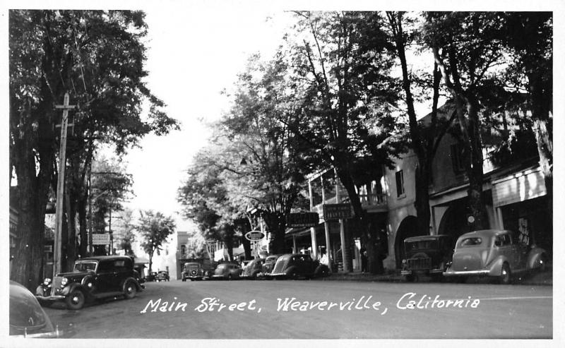 Weaverville California~Main Street~Hotel~Groceries & Hardware~1930s Cars~RPPC
