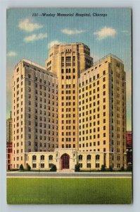 Chicago IL, Wesley Memorial Hospital, Linen Illinois c1943 Postcard
