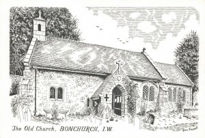Art Sketch Postcard, The Old Church Bonchurch Isle of Wight by Don Vincent AS1