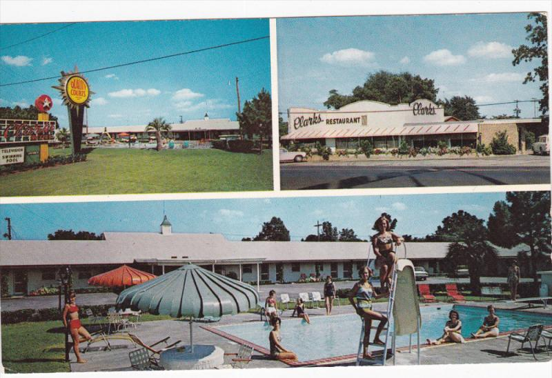 3-Views. Quality Courts Motel Clark´s And Restaurant, Swimming Pool, SANTEE,...
