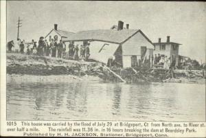 Bridgeport CT Flood Carries Home From North Ave to River St. c1905 Postcard