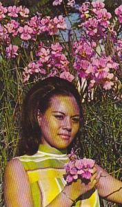 Native Girl In Field Of Orchids, Guam, 1940-1960s