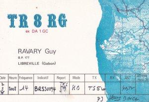 Libreville Gabon France QSL Map Postcard Amateur Radio Card