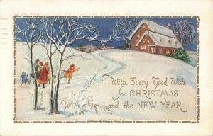 Circa 1932 Christmas, New Year Embossed Postcard Children, Snow ~ Junge