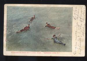 THE GREAT SALT LAKE UTAH SWIMMING FLOATING VINTAGE POSTCARD 1904 RPO CANCEL