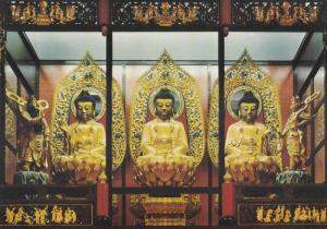 Three Buddha Statues, Central Shrine, The International Buddhist Society, Ric...