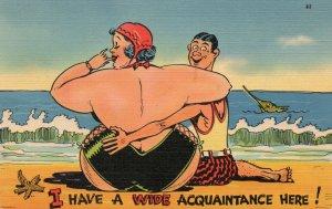 11123 Risque Bathing Beauty Comic Postcard