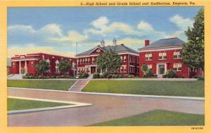 EMPORIA VIRGINIA HIGH SCHOOL GRADE SCHOOL & AUDITORIUM POSTCARD c1940s