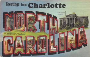 Charlotte North Carolina Large Letter Linen~1940 Info on Back~Postcard