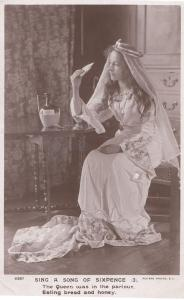 Sing A Song Of Sixpence Real Photo Nursery Rhyme Honey Postcard