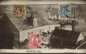 Turks Island, W.I., Grinding Salt (1925) RPPC Postcard Stamps