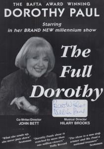 Dorothy Paul Live In Concert Hand Signed Theatre Flyer Handbill