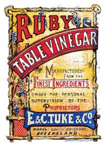 Vintage Repro Label Postcard Ruby Table Vinegar, E&C Tuke & Co. Australia 50A