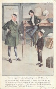 Postcard Comic David Copperfield's first meeting with Mr Micawber