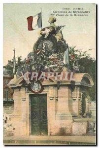 Old Postcard Paris Statue Strasbourg Place de la Concorde