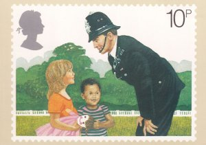 Policeman Police Constable On His Beat Royal Mail Postcard