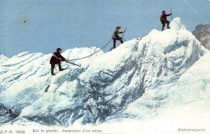 Switzerland Sur le Glacier Ascension d'un Serac Gletscherpartie Postcard