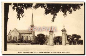 Old Postcard Dijon L & # 39Entree The Alleos From St. Peter Church Park