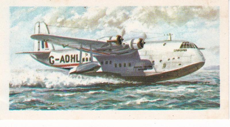 Trade Card Brooke Bond Tea History of Aviation black back reprint No 21  Short