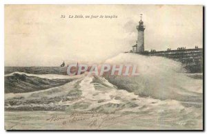 Old Postcard La Jetee one day storm Lighthouse