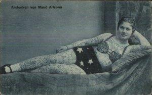 TATTOOS Tattooed Lady Andenken von Maud Arizona c1910 Postcard