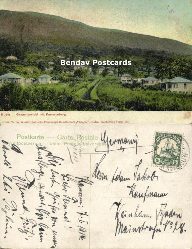 german west africa, Cameroon, BUEA, Partial View with Mount Cameroon 1914 Stamp