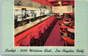 Los Angeles CA Postcard LINDY'S RESTAURANT 3656 Wilshire Blvd. Linen c1950s