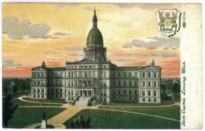 Hillsdale, Michigan to Wellington, Ohio 1909 used Postcard, State Capitol