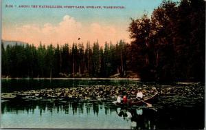 Spokane Washington~Spirit Lake Waterlilies~Lady & Girls in Rowboat~1910 Postcard