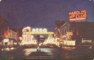 Nevada Reno Photographed At Night In Natural Color