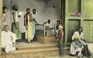 british india, Native People in Opium Shop (1910s) Postcard