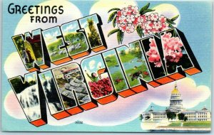 1940s WEST VIRGINIA Large Letter Postcard w/ State Capitol Building - Linen