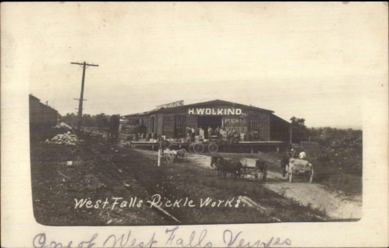 West Falls NY Pickle Works - RFD Cancel c1910 Real Photo Postcard