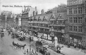 London, Holborn, Staple Inn, truck carriages animated street