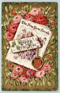 New Year Herald Newspaper~Coat Armor Seal~Pink Mums~Mistletoe~Gold Back Emboss