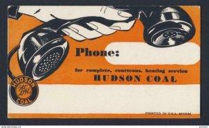 HUDSON COAL - hand holding vintage landline phone receiver - VINTAGE BLOTTER