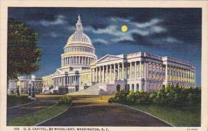 U S Capitol By Moonlight Washington D C