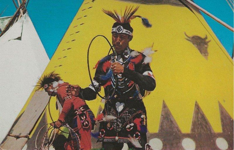 HR-002 - Pawnee Indian Hoop Dancers Posing in Oklahoma Picture Postcard.