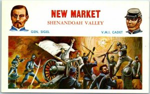 1950s Battles of the Civil War Postcard NEW MARKET - Shenandoah Valley