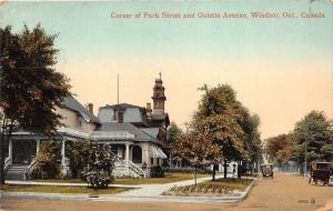 Windsor Ontario~Park Street & Oulette Avenue~Vintage Cars~House~Church Bknd~1914