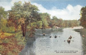 New York City~Boating on Bronx Lake @ Zoological Park~c1910 Postcard