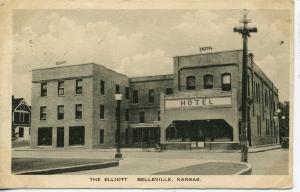 BELLEVILLE KANSAS THE ELLIOTT HOTEL VINTAGE POSTCARD EATON