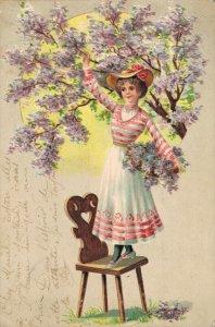 Victorian Girl Purple Rain Embossed Vintage Postcard 06.32